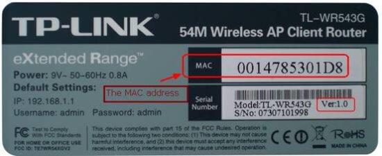 Наклейка с MAC адресом на роутере TP LINK