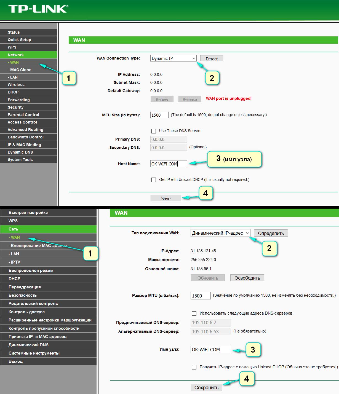 Настройка динамического IP адреса в роутере TP Link