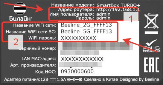 Наклейка роутера Билайн с именем сети Вай-Фай, ключом доступа, адрсом входа в личный кабинет и доступом логин - пароль