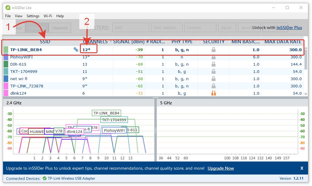 Мониторинг WiFi-каналов в програме inSSIDer