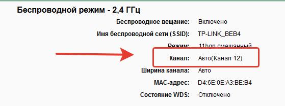 Титульная страницы панели управления роутером, выделен канал